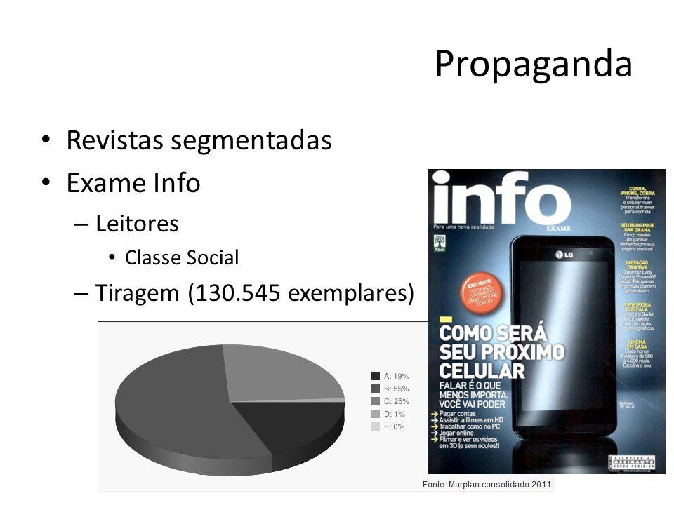 Propaganda Revistas segmentadas Exame Info – Leitores Classe Social – Tiragem (130.545 exemplares)