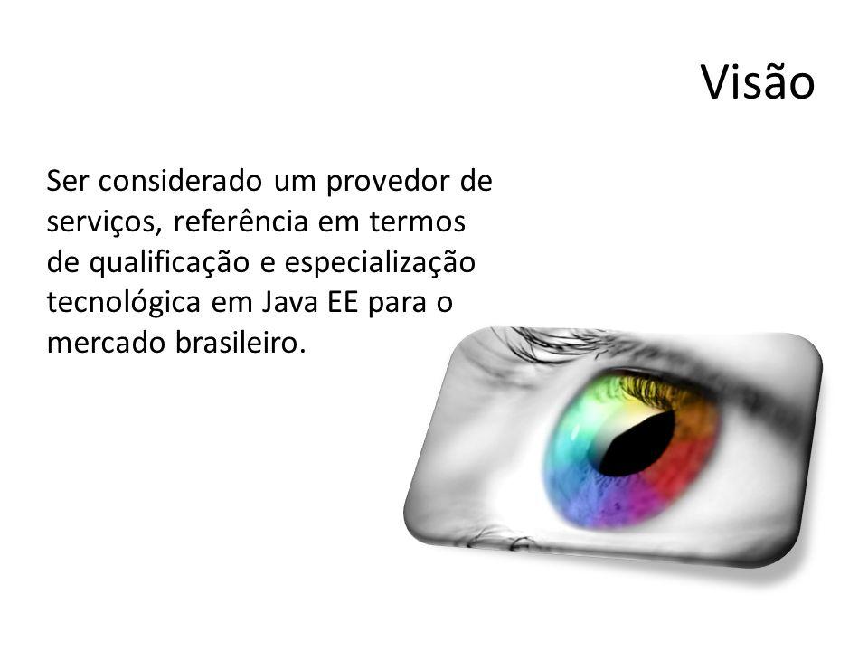 Visão Ser considerado um provedor de serviços, referência em termos de qualificação e especialização tecnológica em Java EE para o mercado brasileiro.