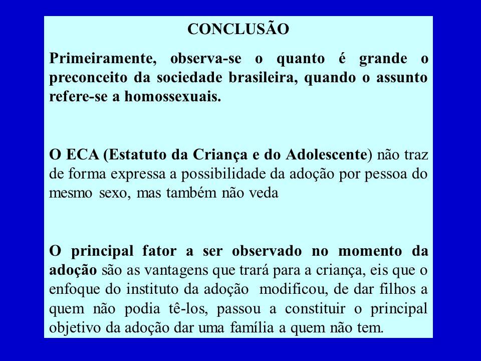 CONCLUSÃO Primeiramente, observa-se o quanto é grande o preconceito da sociedade brasileira, quando o assunto refere-se a homossexuais. O ECA (Estatut