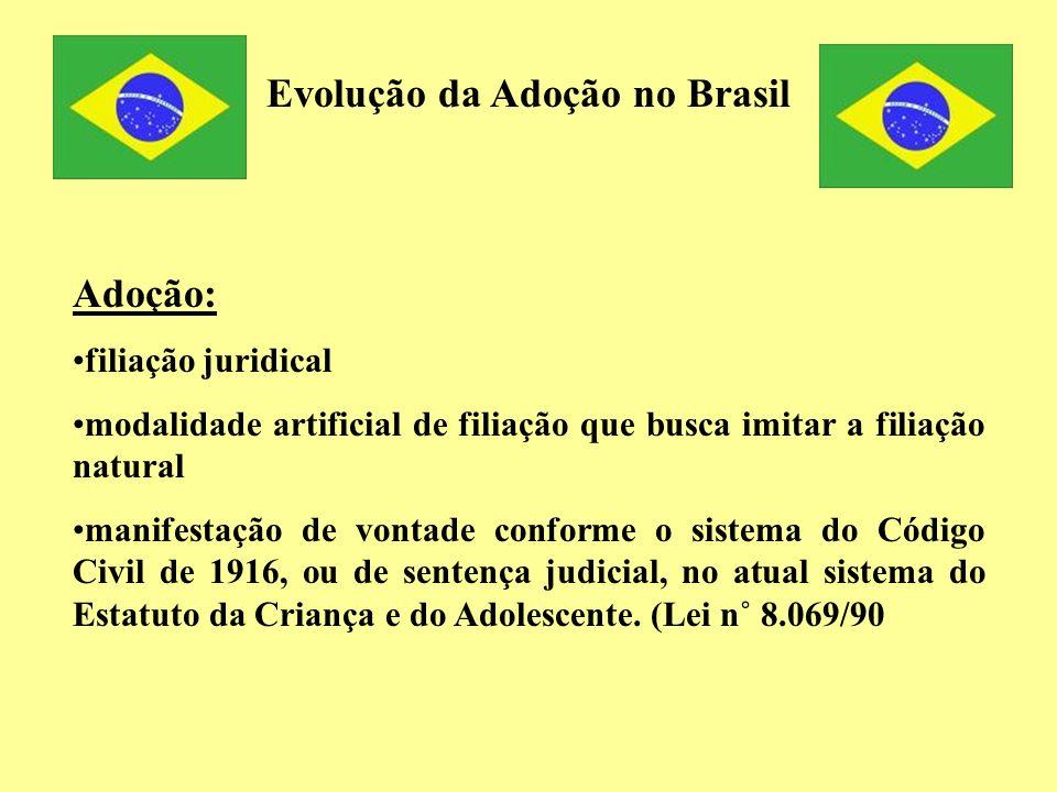 Evolução da Adoção no Brasil Adoção: filiação juridical modalidade artificial de filiação que busca imitar a filiação natural manifestação de vontade
