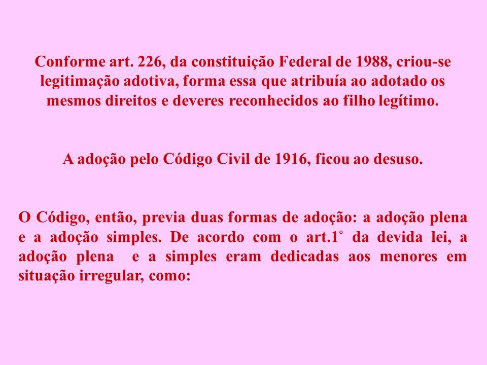 Conforme art. 226, da constituição Federal de 1988, criou-se legitimação adotiva, forma essa que atribuía ao adotado os mesmos direitos e deveres reco