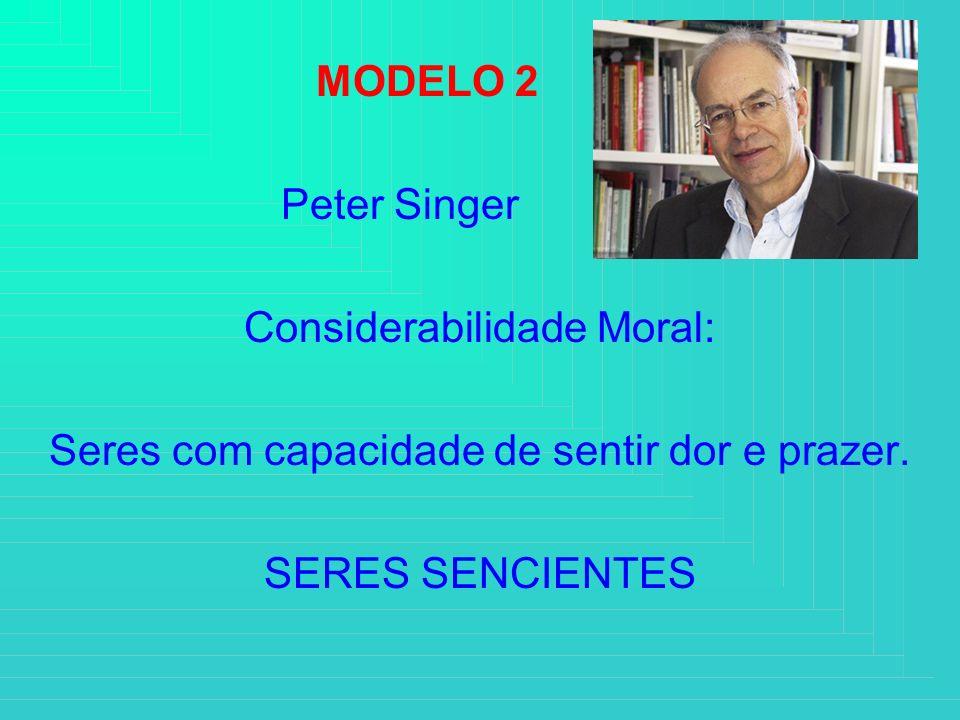 MODELO 2 Peter Singer Considerabilidade Moral: Seres com capacidade de sentir dor e prazer. SERES SENCIENTES