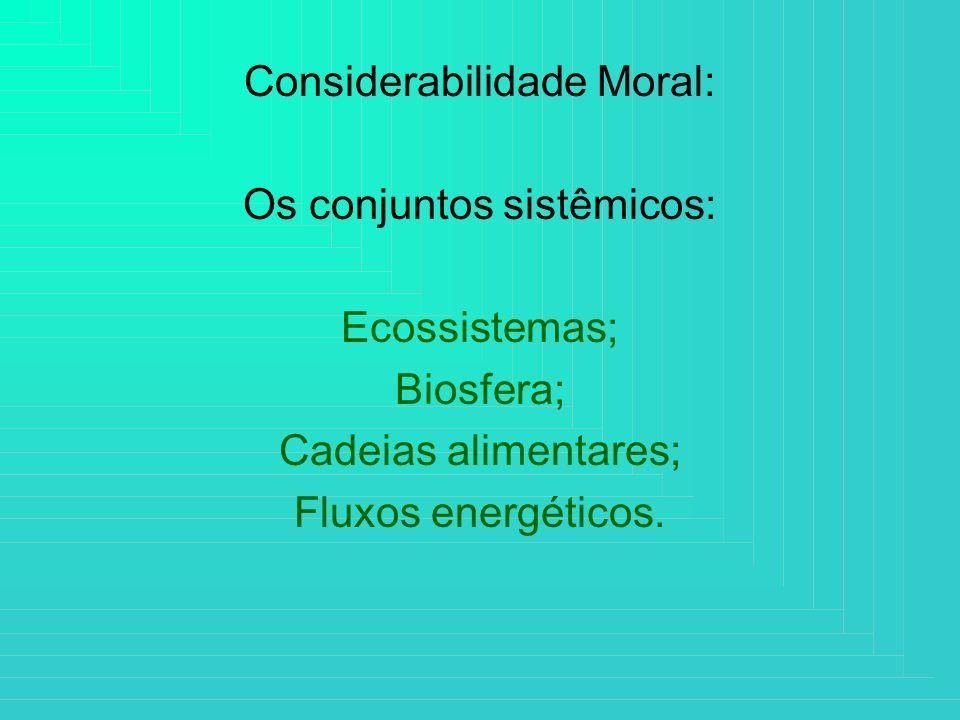 Considerabilidade Moral: Os conjuntos sistêmicos: Ecossistemas; Biosfera; Cadeias alimentares; Fluxos energéticos.