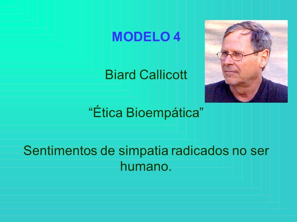 MODELO 4 Biard Callicott Ética Bioempática Sentimentos de simpatia radicados no ser humano.