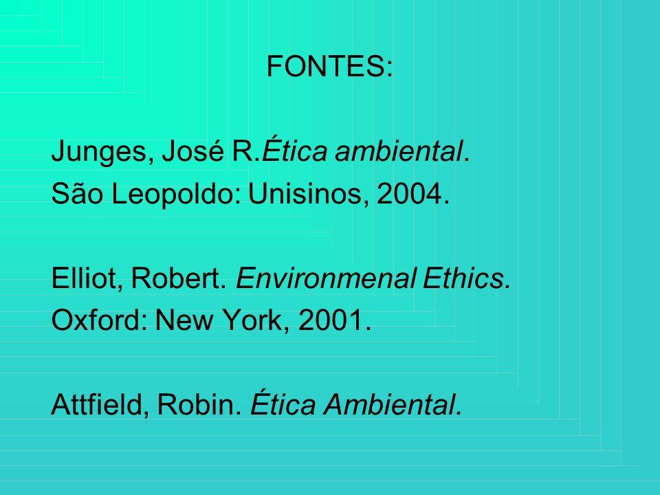 FONTES: Junges, José R.Ética ambiental. São Leopoldo: Unisinos, 2004. Elliot, Robert. Environmenal Ethics. Oxford: New York, 2001. Attfield, Robin. Ét