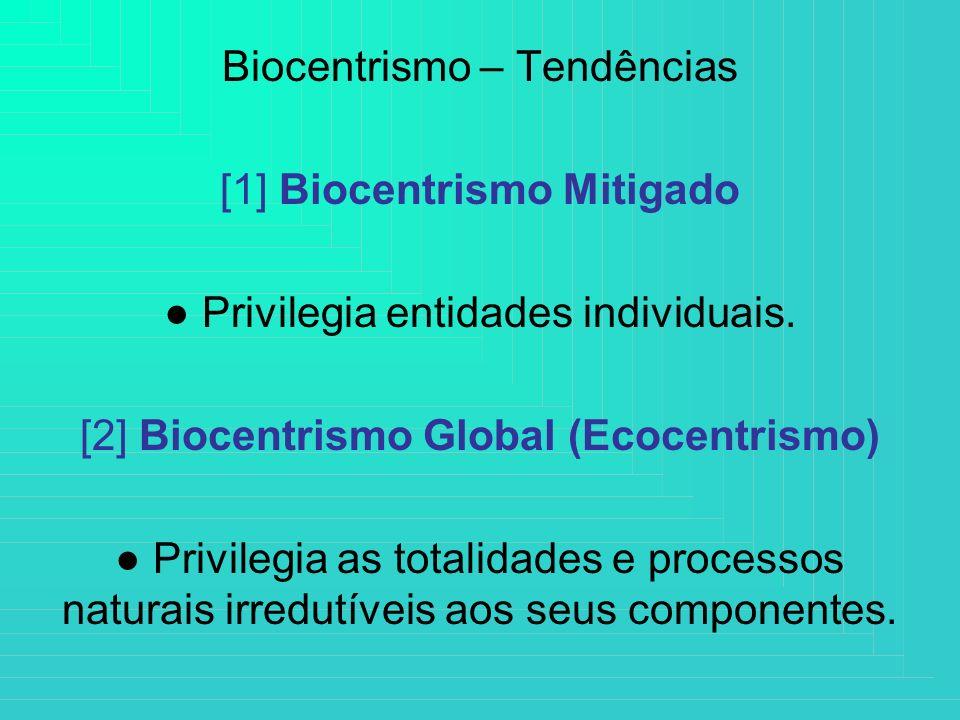 Biocentrismo – Tendências [1] Biocentrismo Mitigado Privilegia entidades individuais. [2] Biocentrismo Global (Ecocentrismo) Privilegia as totalidades