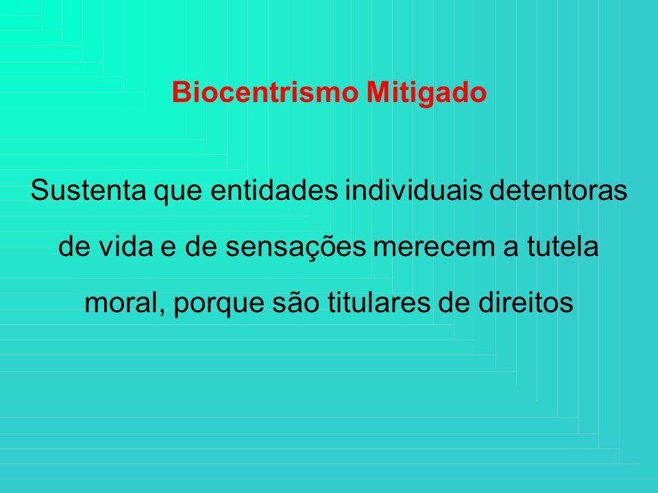 Biocentrismo Mitigado Sustenta que entidades individuais detentoras de vida e de sensações merecem a tutela moral, porque são titulares de direitos