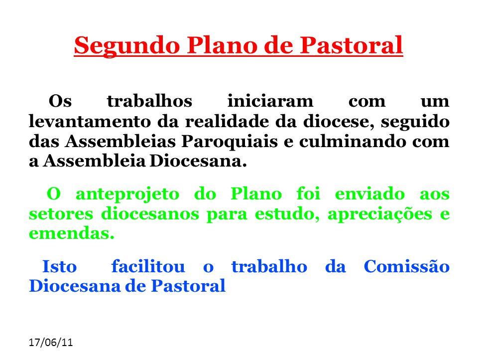 17/06/11 Segundo Plano de Pastoral Os trabalhos iniciaram com um levantamento da realidade da diocese, seguido das Assembleias Paroquiais e culminando