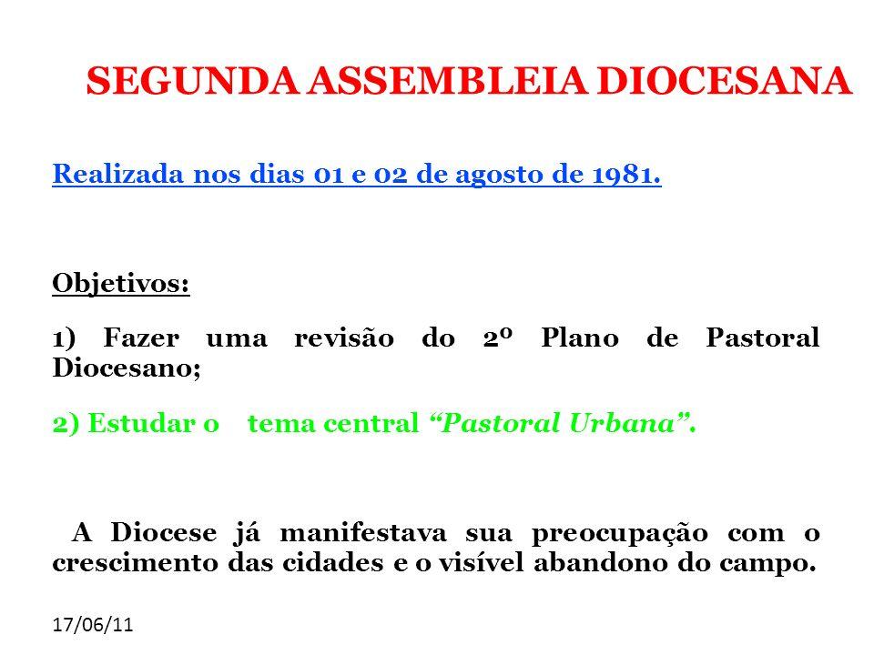 17/06/11 SEGUNDA ASSEMBLEIA DIOCESANA Realizada nos dias 01 e 02 de agosto de 1981. Objetivos: 1) Fazer uma revisão do 2º Plano de Pastoral Diocesano;