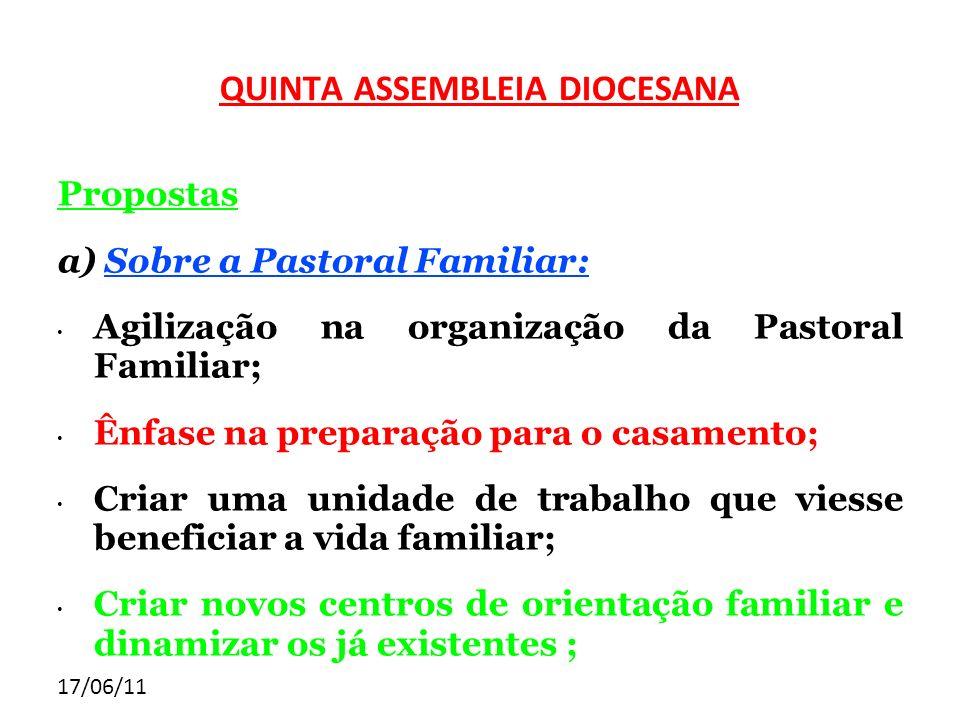 17/06/11 Propostas a) Sobre a Pastoral Familiar: Agilização na organização da Pastoral Familiar; Ênfase na preparação para o casamento; Criar uma unid