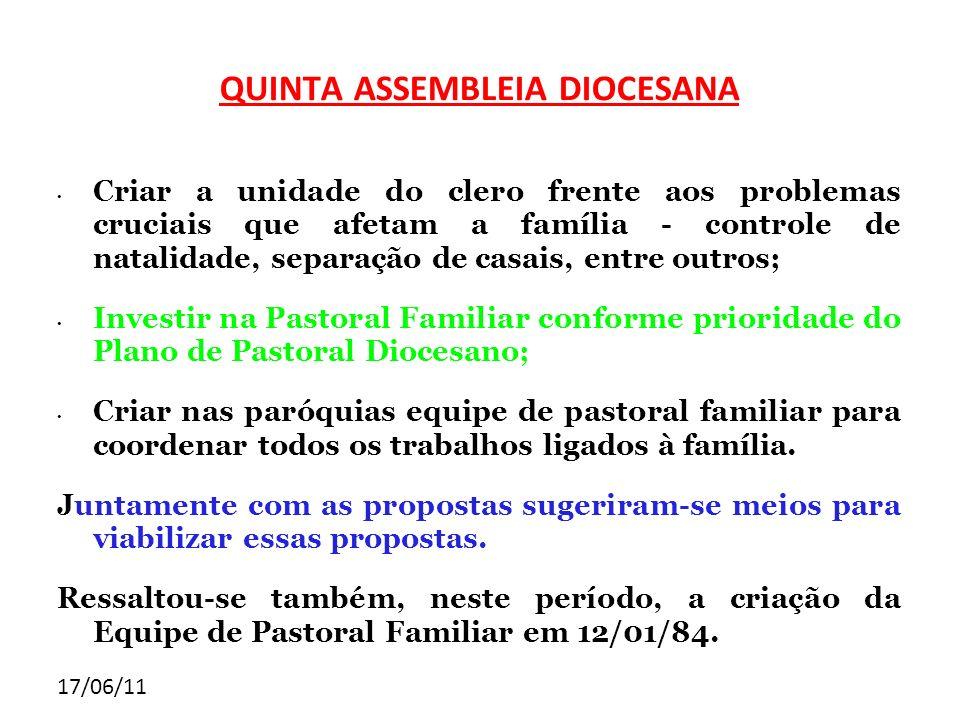 17/06/11 Criar a unidade do clero frente aos problemas cruciais que afetam a família - controle de natalidade, separação de casais, entre outros; Inve