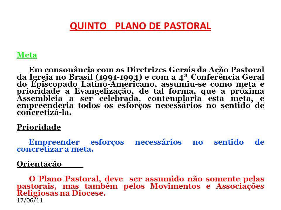 17/06/11 Meta Em consonância com as Diretrizes Gerais da Ação Pastoral da Igreja no Brasil (1991-1994) e com a 4ª Conferência Geral do Episcopado Lati