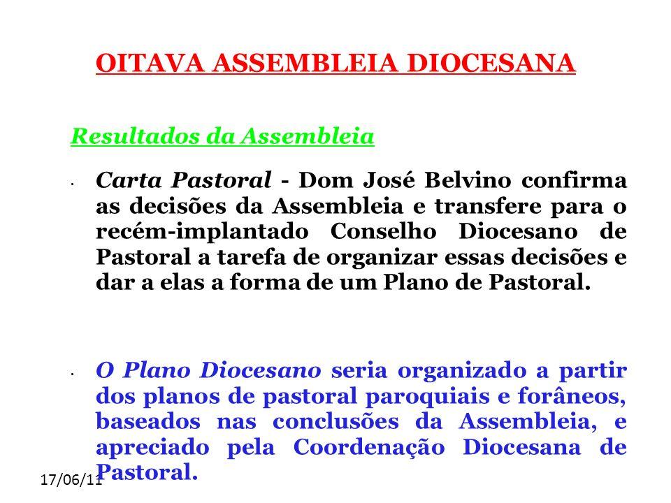 17/06/11 OITAVA ASSEMBLEIA DIOCESANA Resultados da Assembleia Carta Pastoral - Dom José Belvino confirma as decisões da Assembleia e transfere para o