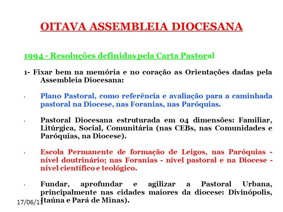 17/06/11 OITAVA ASSEMBLEIA DIOCESANA 1994 - Resoluções definidas pela Carta Pastoral 1- Fixar bem na memória e no coração as Orientações dadas pela As