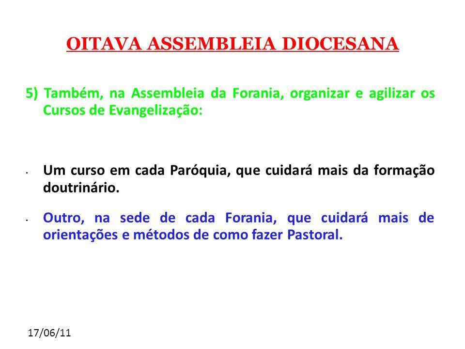 17/06/11 OITAVA ASSEMBLEIA DIOCESANA 5) Também, na Assembleia da Forania, organizar e agilizar os Cursos de Evangelização: Um curso em cada Paróquia,