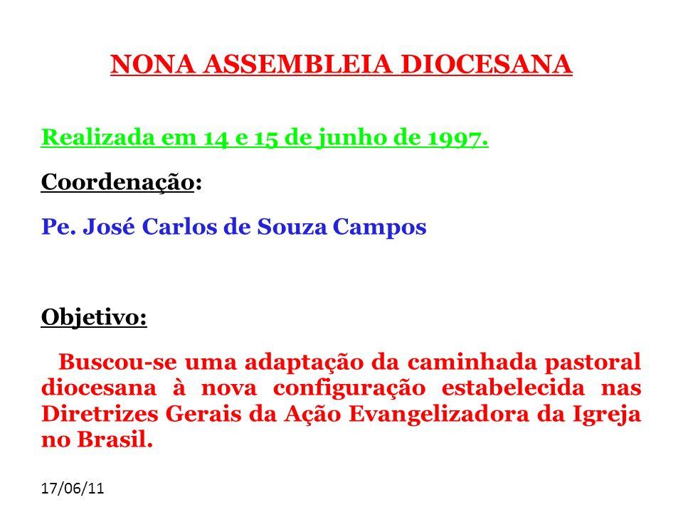 17/06/11 NONA ASSEMBLEIA DIOCESANA Realizada em 14 e 15 de junho de 1997. Coordenação: Pe. José Carlos de Souza Campos Objetivo: Buscou-se uma adaptaç