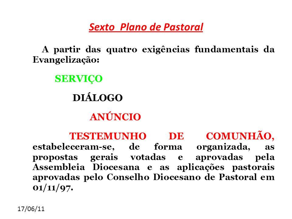 17/06/11 Sexto Plano de Pastoral A partir das quatro exigências fundamentais da Evangelização: SERVIÇO DIÁLOGO ANÚNCIO TESTEMUNHO DE COMUNHÃO, estabel