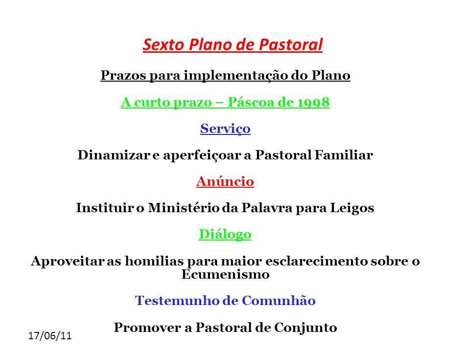 17/06/11 Sexto Plano de Pastoral Prazos para implementação do Plano A curto prazo – Páscoa de 1998 Serviço Dinamizar e aperfeiçoar a Pastoral Familiar
