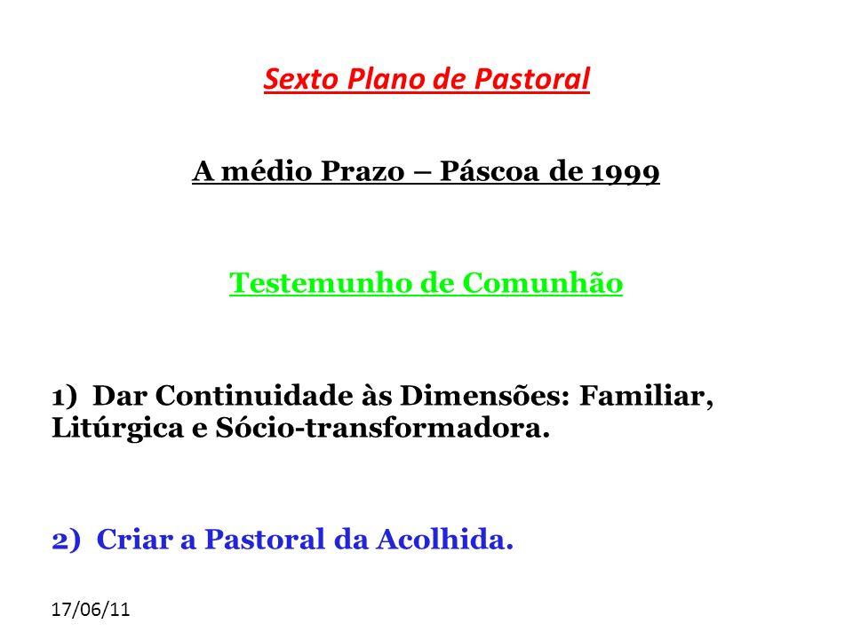 17/06/11 Sexto Plano de Pastoral A médio Prazo – Páscoa de 1999 Testemunho de Comunhão 1) Dar Continuidade às Dimensões: Familiar, Litúrgica e Sócio-t