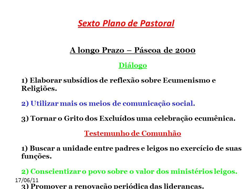 17/06/11 Sexto Plano de Pastoral A longo Prazo – Páscoa de 2000 Diálogo 1) Elaborar subsídios de reflexão sobre Ecumenismo e Religiões. 2) Utilizar ma