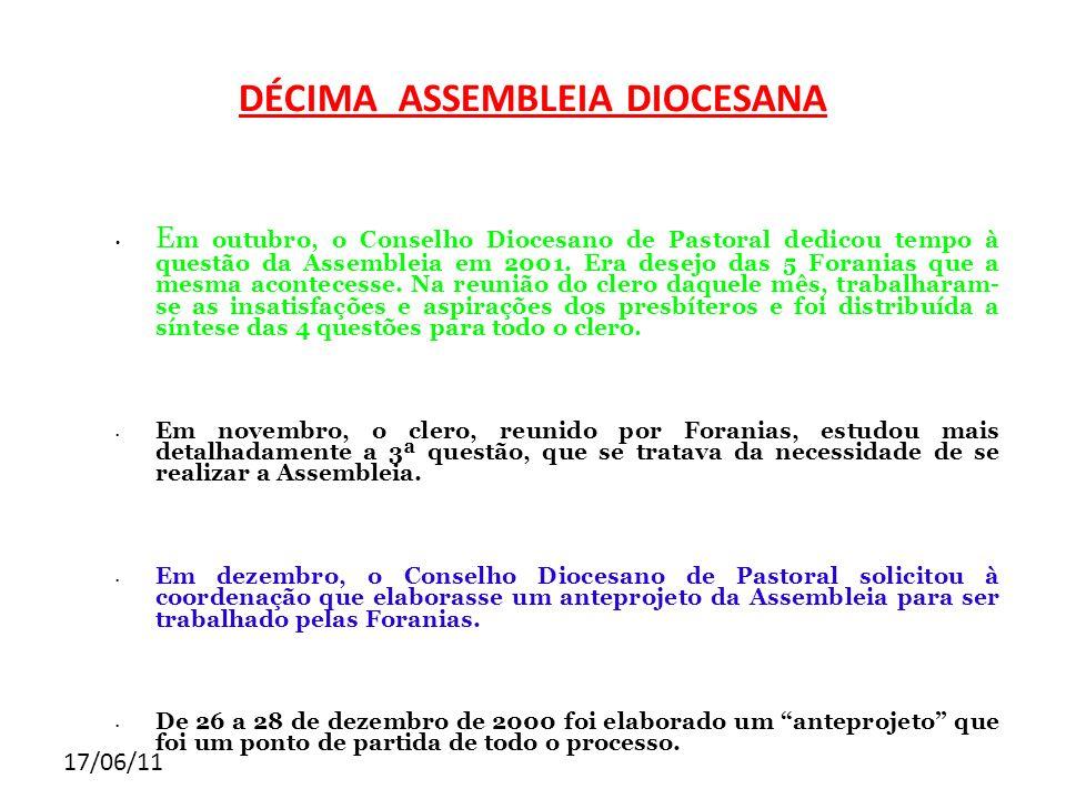 17/06/11 DÉCIMA ASSEMBLEIA DIOCESANA E m outubro, o Conselho Diocesano de Pastoral dedicou tempo à questão da Assembleia em 2001. Era desejo das 5 For