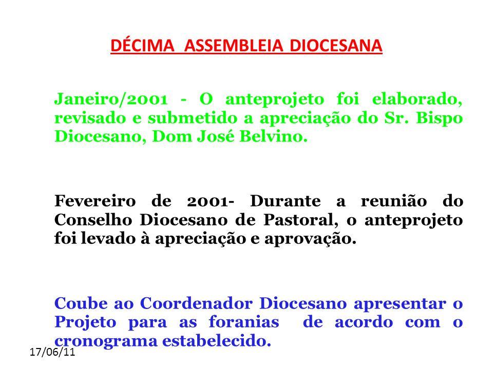 17/06/11 DÉCIMA ASSEMBLEIA DIOCESANA Janeiro/2001 - O anteprojeto foi elaborado, revisado e submetido a apreciação do Sr. Bispo Diocesano, Dom José Be
