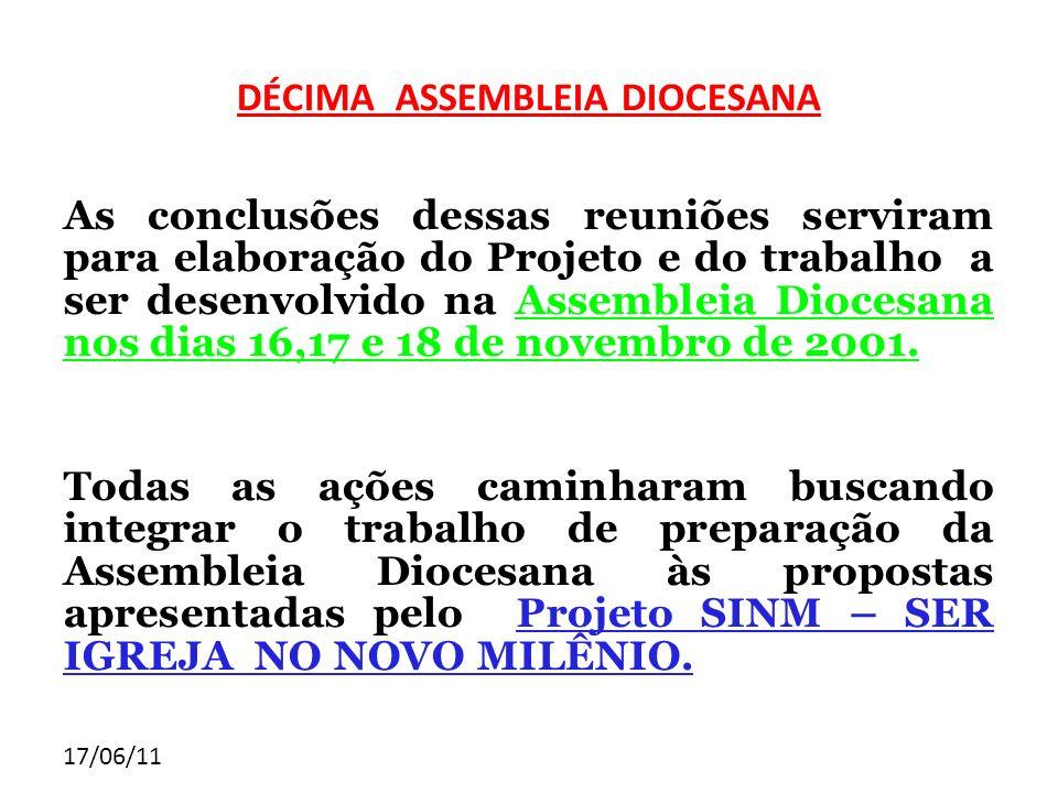 17/06/11 DÉCIMA ASSEMBLEIA DIOCESANA As conclusões dessas reuniões serviram para elaboração do Projeto e do trabalho a ser desenvolvido na Assembleia