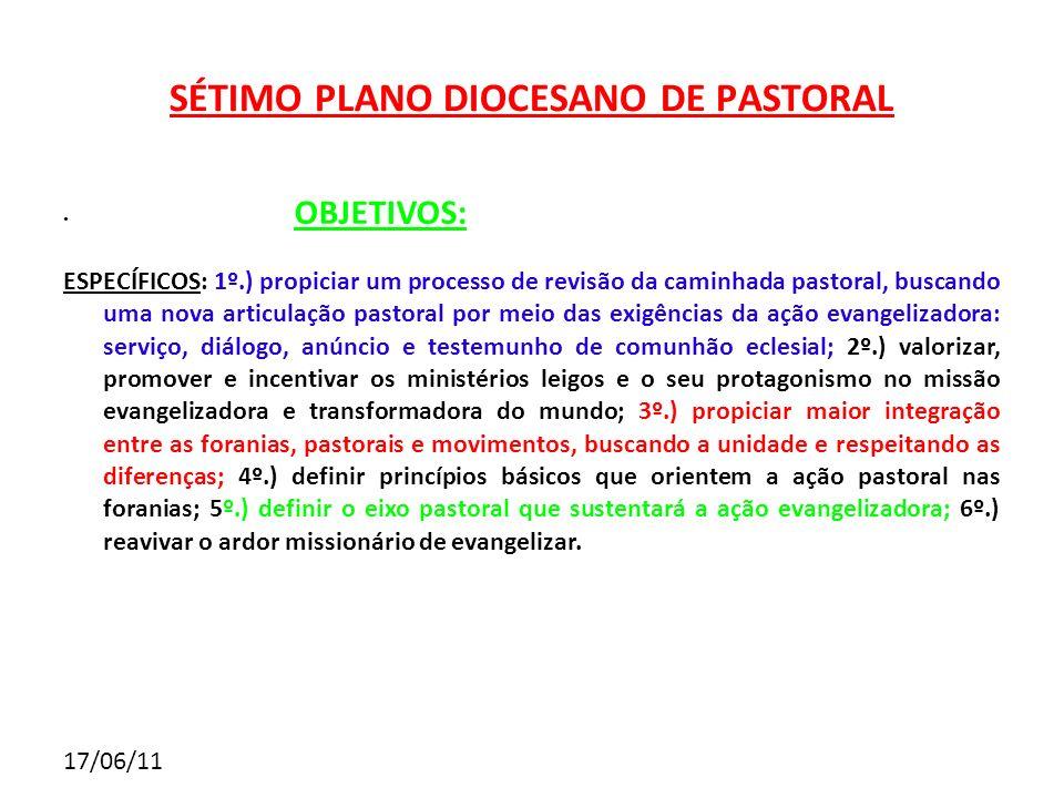 17/06/11 SÉTIMO PLANO DIOCESANO DE PASTORAL OBJETIVOS: ESPECÍFICOS: 1º.) propiciar um processo de revisão da caminhada pastoral, buscando uma nova art