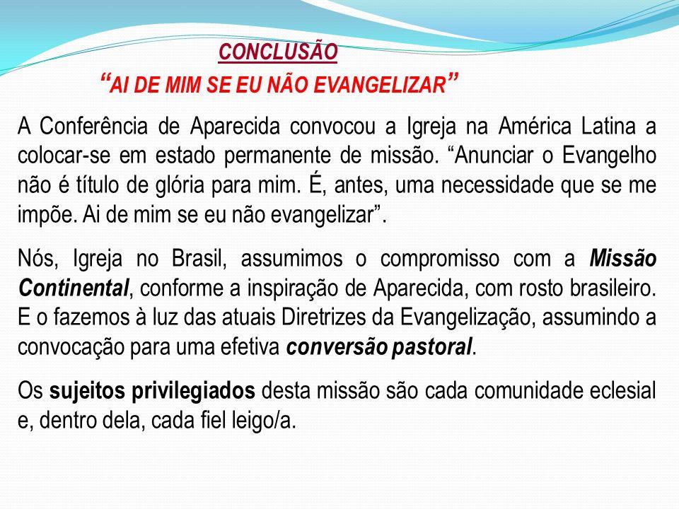 CONCLUSÃO AI DE MIM SE EU NÃO EVANGELIZAR A Conferência de Aparecida convocou a Igreja na América Latina a colocar-se em estado permanente de missão.
