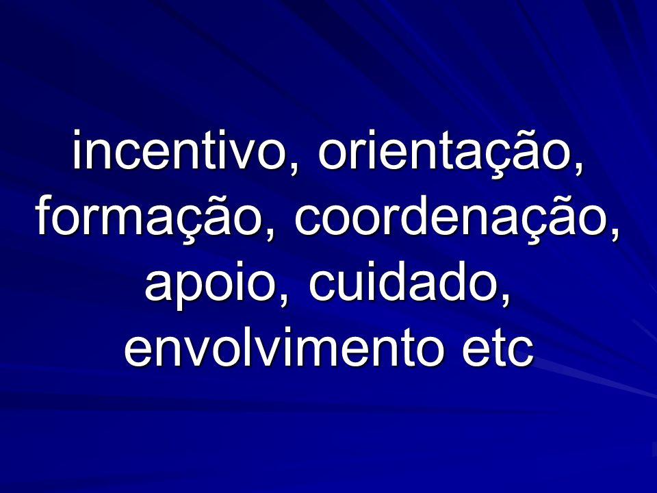 incentivo, orientação, formação, coordenação, apoio, cuidado, envolvimento etc
