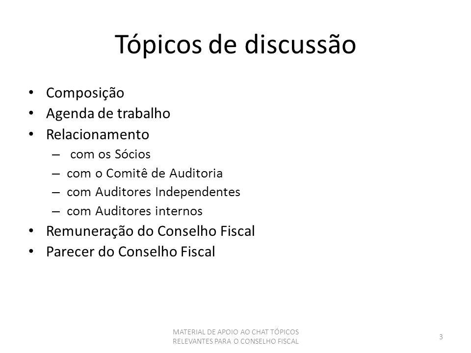 Tópicos de discussão Composição Agenda de trabalho Relacionamento – com os Sócios – com o Comitê de Auditoria – com Auditores Independentes – com Audi