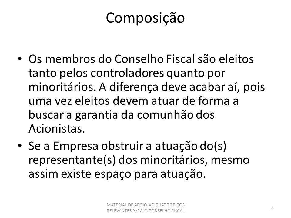 Composição Os membros do Conselho Fiscal são eleitos tanto pelos controladores quanto por minoritários. A diferença deve acabar aí, pois uma vez eleit