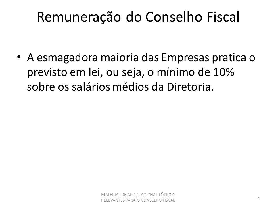 Remuneração do Conselho Fiscal A esmagadora maioria das Empresas pratica o previsto em lei, ou seja, o mínimo de 10% sobre os salários médios da Diret