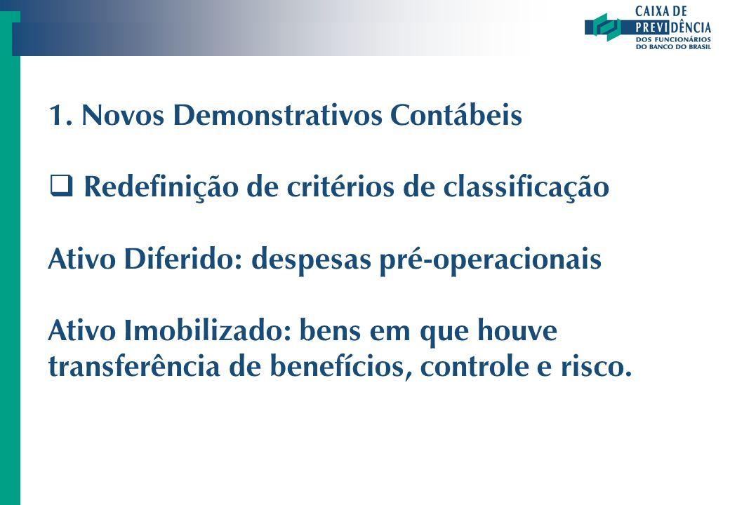 1. Novos Demonstrativos Contábeis Redefinição de critérios de classificação Ativo Diferido: despesas pré-operacionais Ativo Imobilizado: bens em que h
