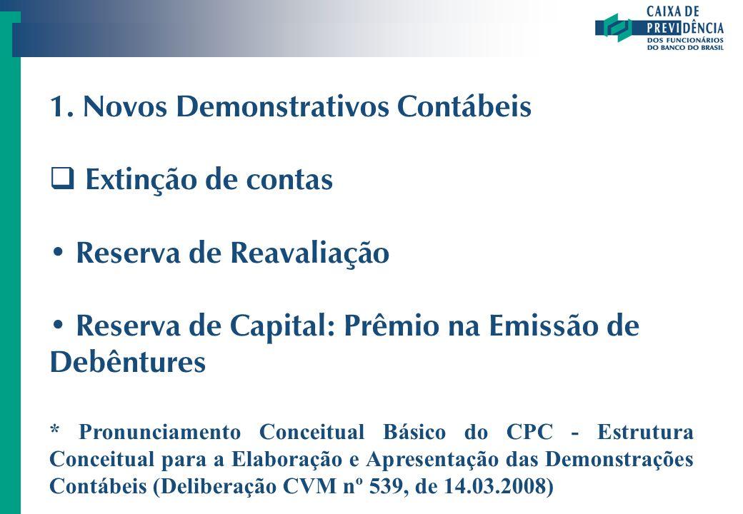 1. Novos Demonstrativos Contábeis Extinção de contas Reserva de Reavaliação Reserva de Capital: Prêmio na Emissão de Debêntures * Pronunciamento Conce