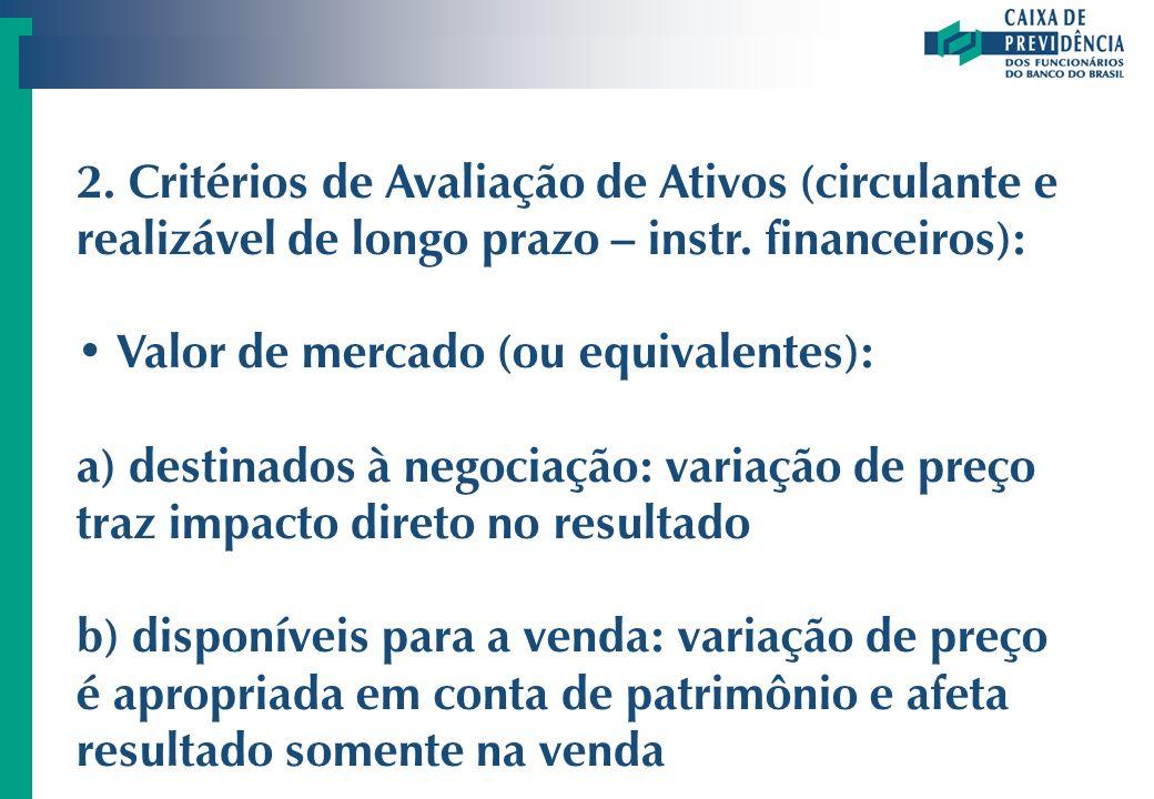 2. Critérios de Avaliação de Ativos (circulante e realizável de longo prazo – instr. financeiros): Valor de mercado (ou equivalentes): a) destinados à