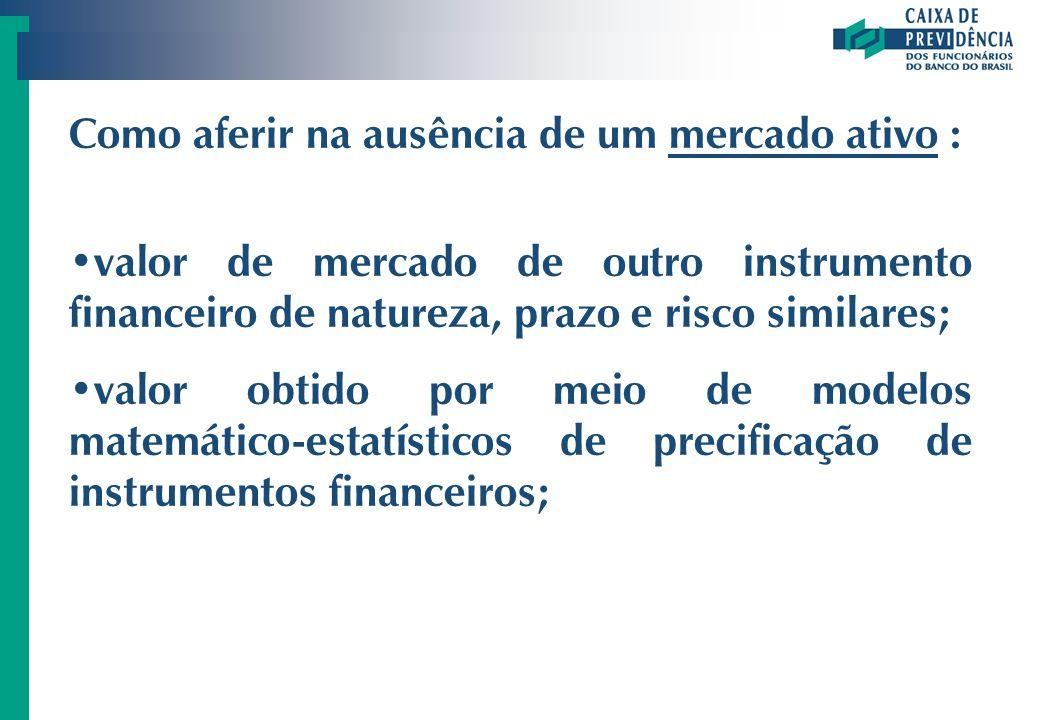 Como aferir na ausência de um mercado ativo : valor de mercado de outro instrumento financeiro de natureza, prazo e risco similares; valor obtido por