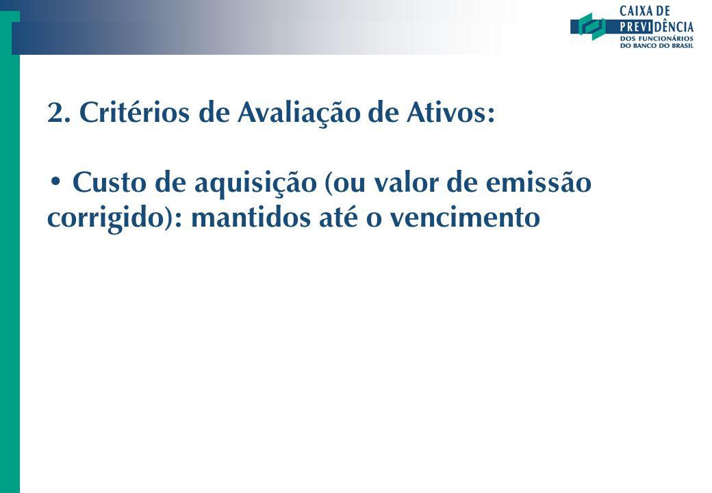 2. Critérios de Avaliação de Ativos: Custo de aquisição (ou valor de emissão corrigido): mantidos até o vencimento