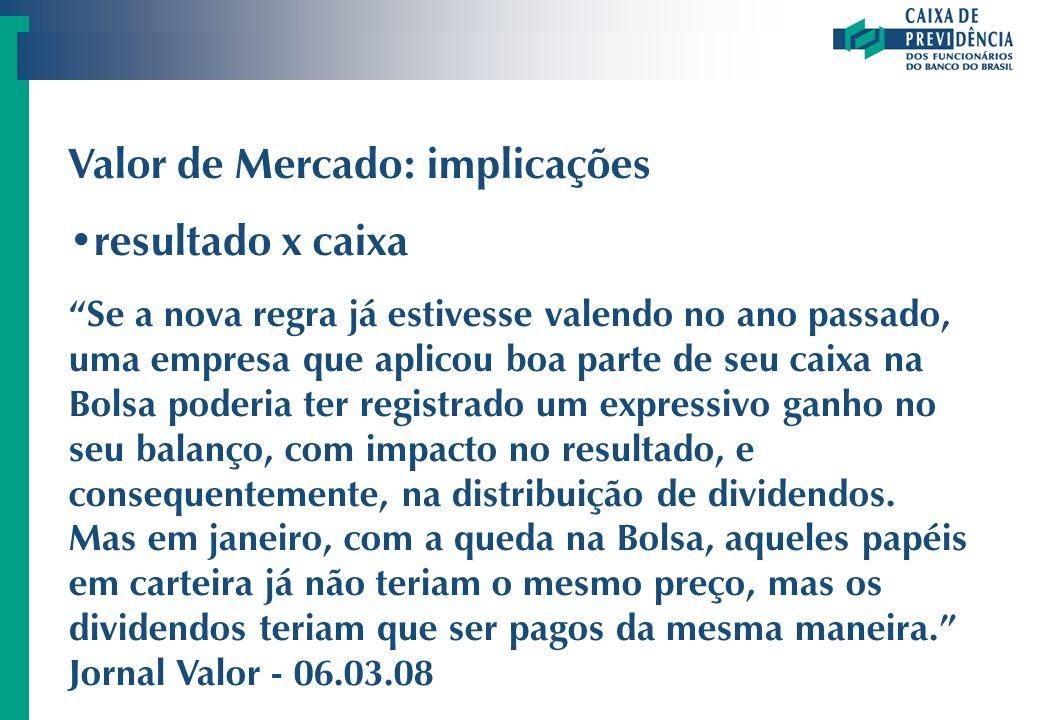 Valor de Mercado: implicações resultado x caixa Se a nova regra já estivesse valendo no ano passado, uma empresa que aplicou boa parte de seu caixa na