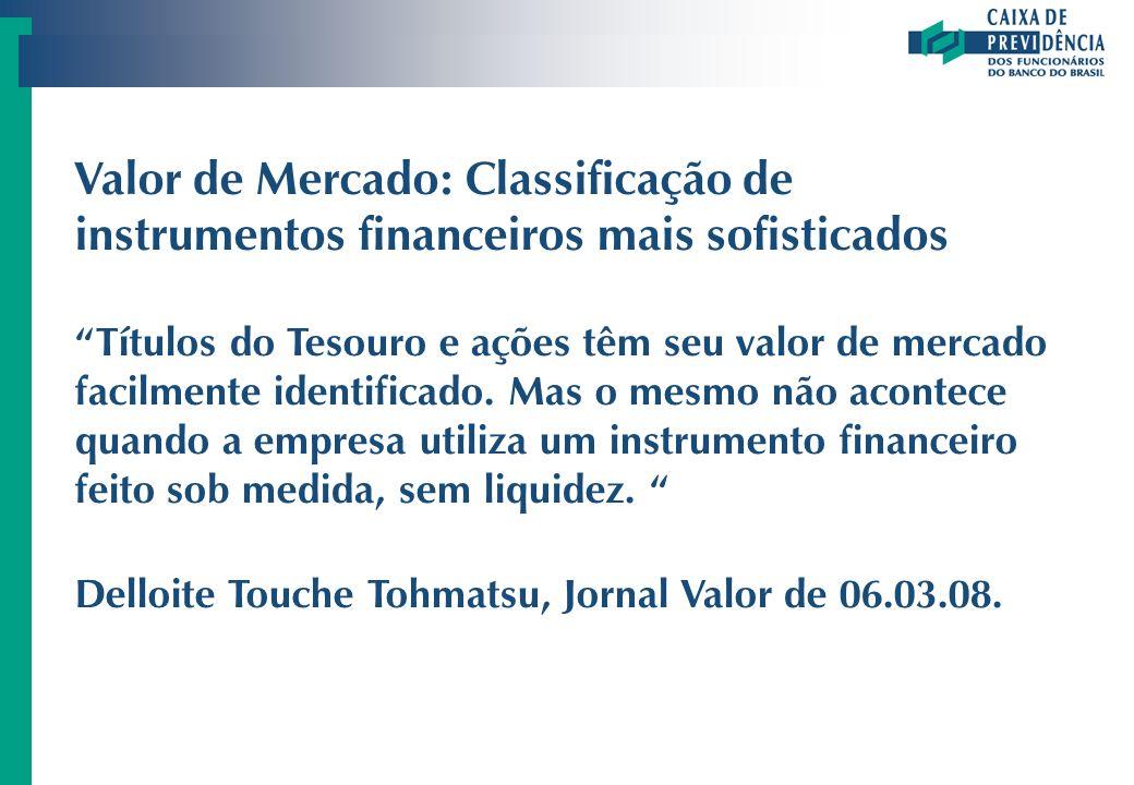 Valor de Mercado: Classificação de instrumentos financeiros mais sofisticados Títulos do Tesouro e ações têm seu valor de mercado facilmente identific