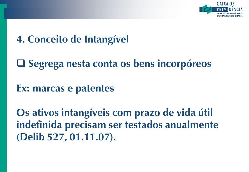 4. Conceito de Intangível Segrega nesta conta os bens incorpóreos Ex: marcas e patentes Os ativos intangíveis com prazo de vida útil indefinida precis