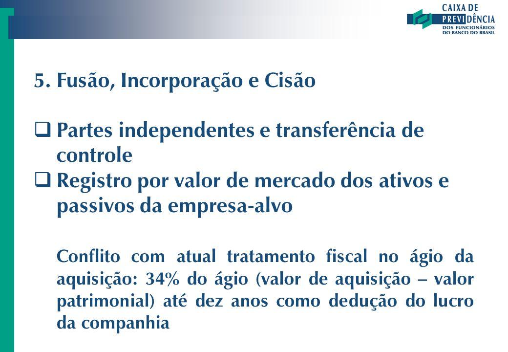 5.Fusão, Incorporação e Cisão Partes independentes e transferência de controle Registro por valor de mercado dos ativos e passivos da empresa-alvo Con