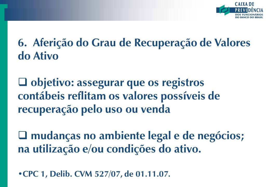 6. Aferição do Grau de Recuperação de Valores do Ativo objetivo: assegurar que os registros contábeis reflitam os valores possíveis de recuperação pel