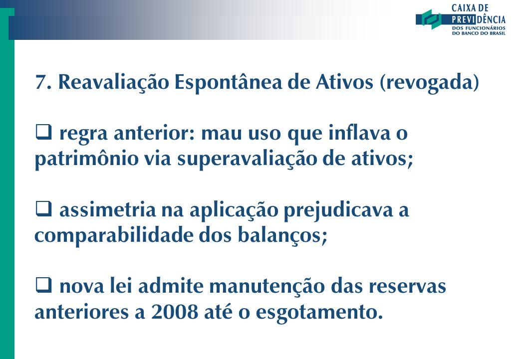 7. Reavaliação Espontânea de Ativos (revogada) regra anterior: mau uso que inflava o patrimônio via superavaliação de ativos; assimetria na aplicação