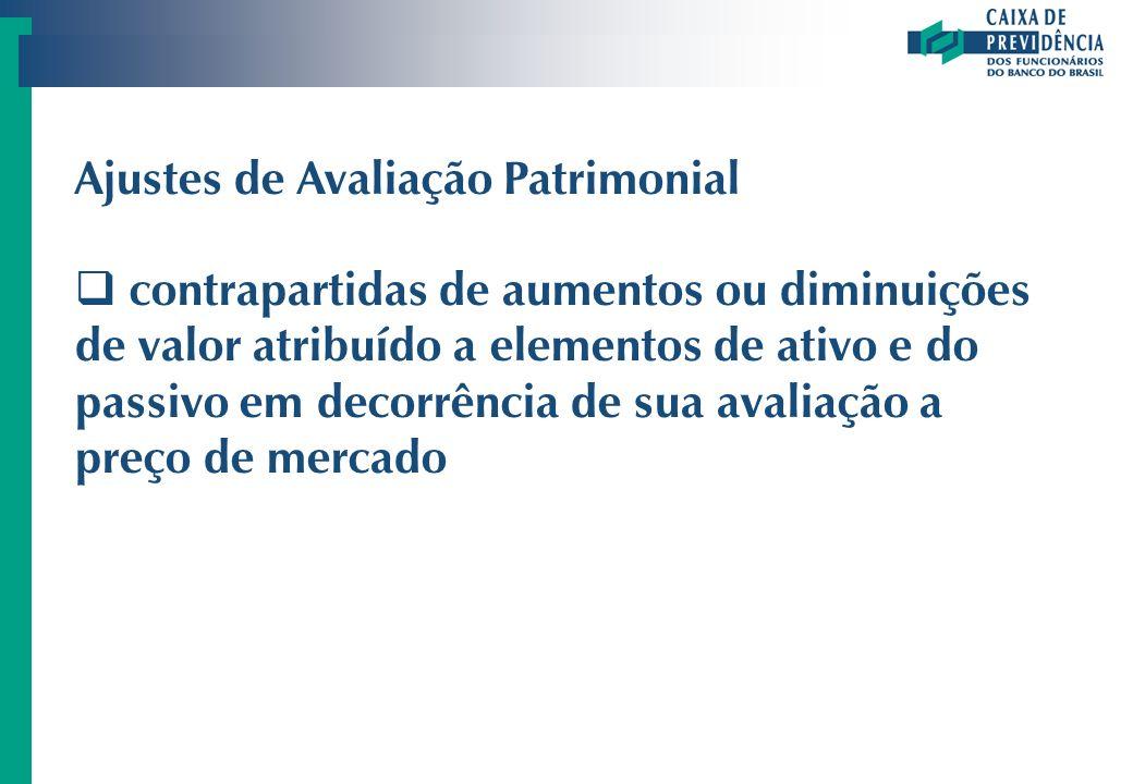Ajustes de Avaliação Patrimonial contrapartidas de aumentos ou diminuições de valor atribuído a elementos de ativo e do passivo em decorrência de sua