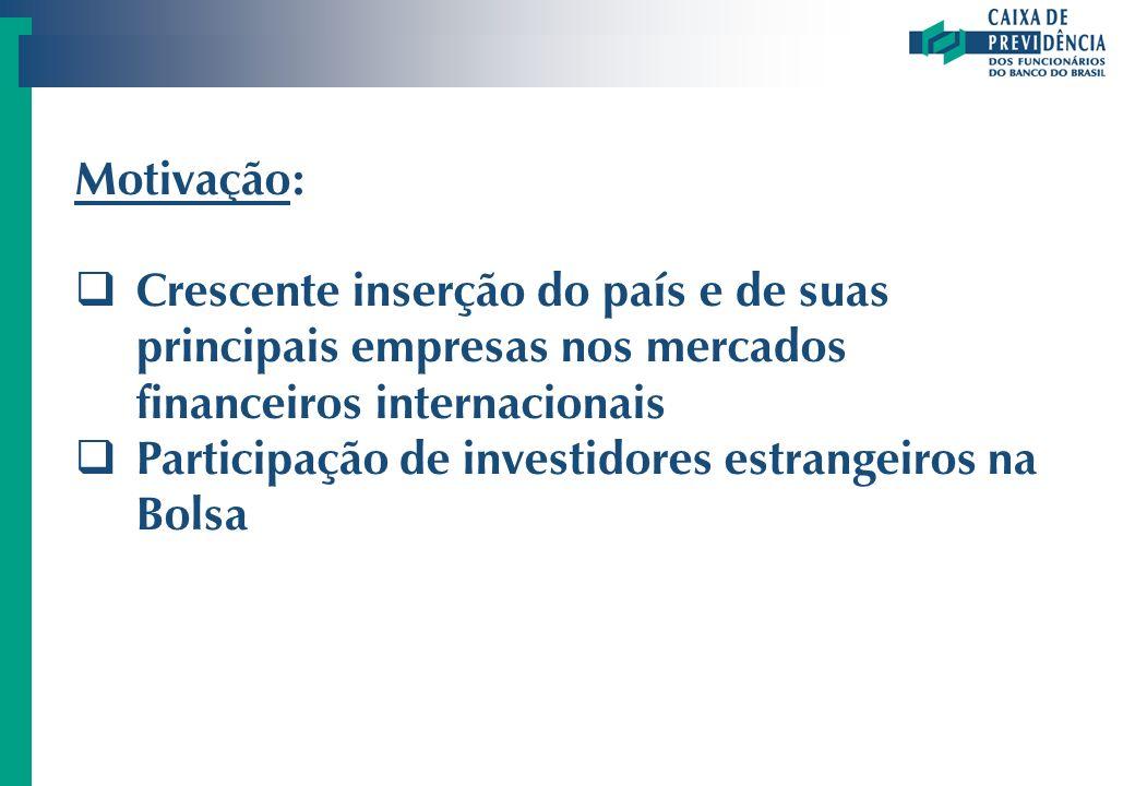 Motivação: Crescente inserção do país e de suas principais empresas nos mercados financeiros internacionais Participação de investidores estrangeiros