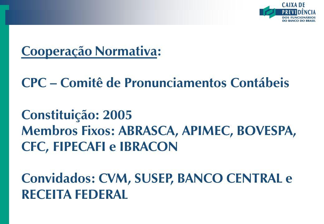 Cooperação Normativa: CPC – Comitê de Pronunciamentos Contábeis Constituição: 2005 Membros Fixos: ABRASCA, APIMEC, BOVESPA, CFC, FIPECAFI e IBRACON Co