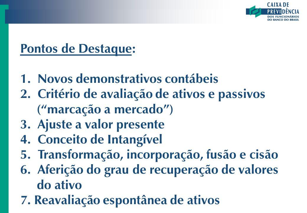 Pontos de Destaque: 1. Novos demonstrativos contábeis 2. Critério de avaliação de ativos e passivos (marcação a mercado) 3. Ajuste a valor presente 4.