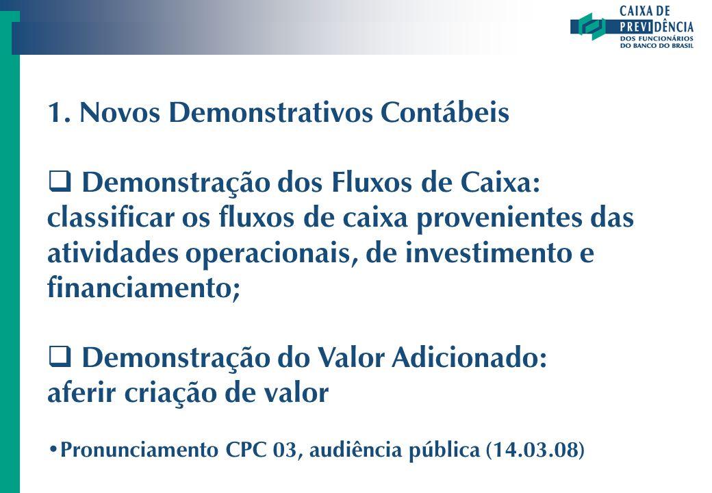 1. Novos Demonstrativos Contábeis Demonstração dos Fluxos de Caixa: classificar os fluxos de caixa provenientes das atividades operacionais, de invest