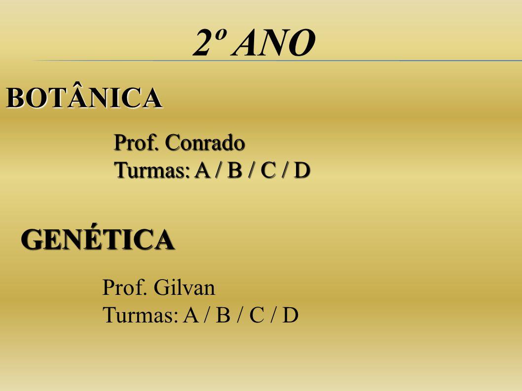 2º ANO Prof. Conrado Turmas: A / B / C / D Prof. Gilvan Turmas: A / B / C / D BOTÂNICA GENÉTICA